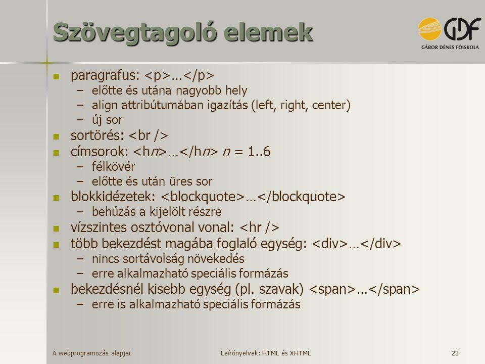 Szövegtagoló elemek paragrafus: <p>…</p>