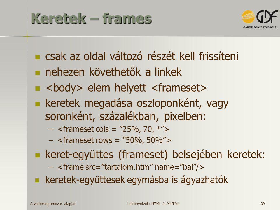 Keretek – frames csak az oldal változó részét kell frissíteni