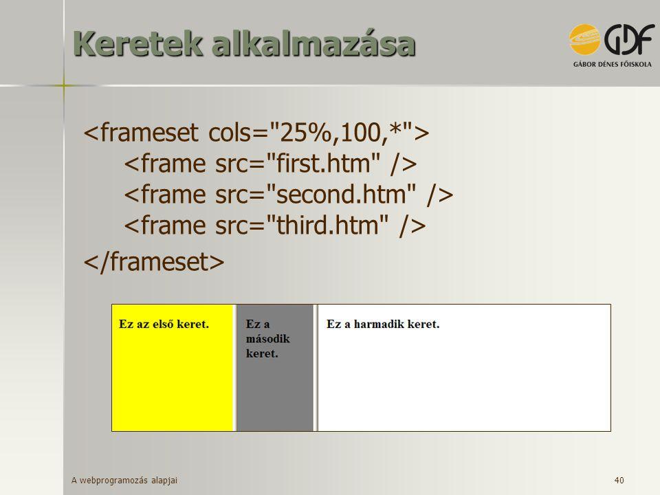 Keretek alkalmazása <frameset cols= 25%,100,* > <frame src= first.htm /> <frame src= second.htm /> <frame src= third.htm />