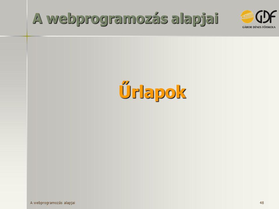 A webprogramozás alapjai