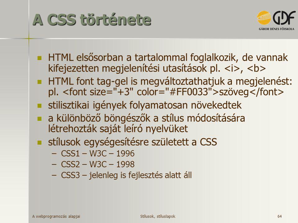 A CSS története HTML elsősorban a tartalommal foglalkozik, de vannak kifejezetten megjelenítési utasítások pl. <i>, <b>