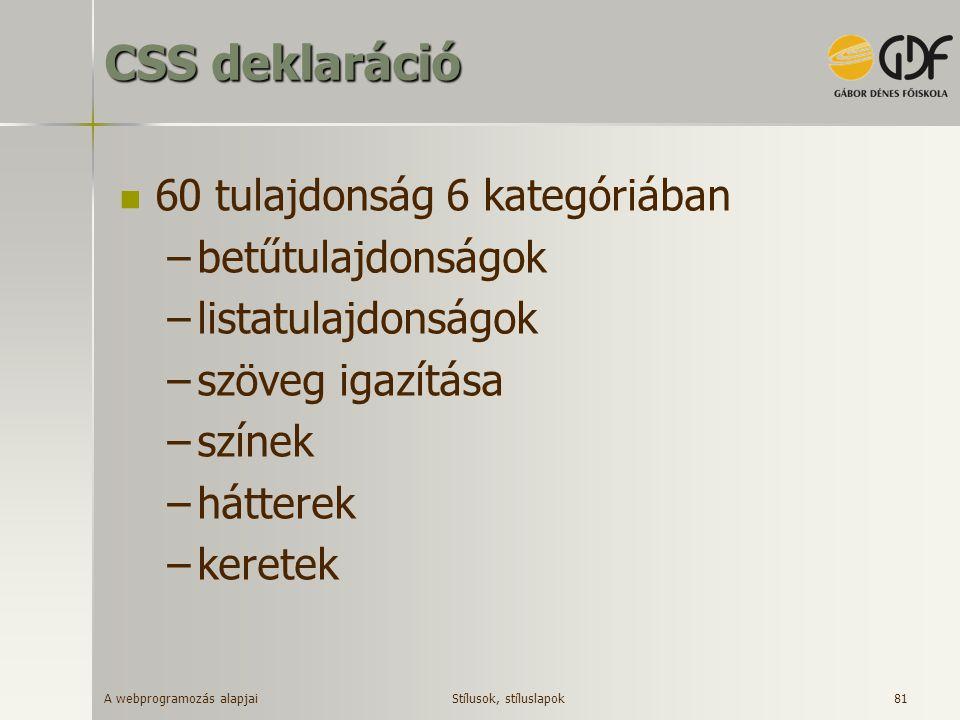 CSS deklaráció 60 tulajdonság 6 kategóriában betűtulajdonságok