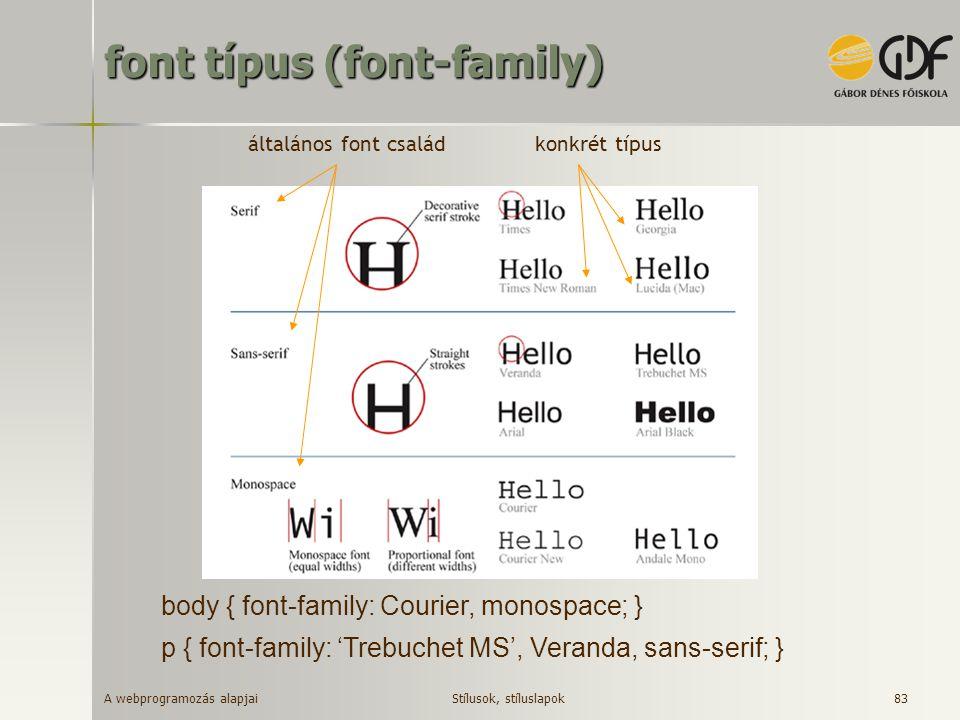 font típus (font-family)