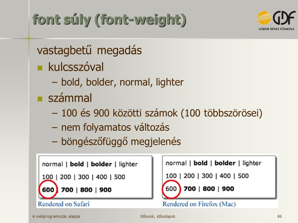 font súly (font-weight)