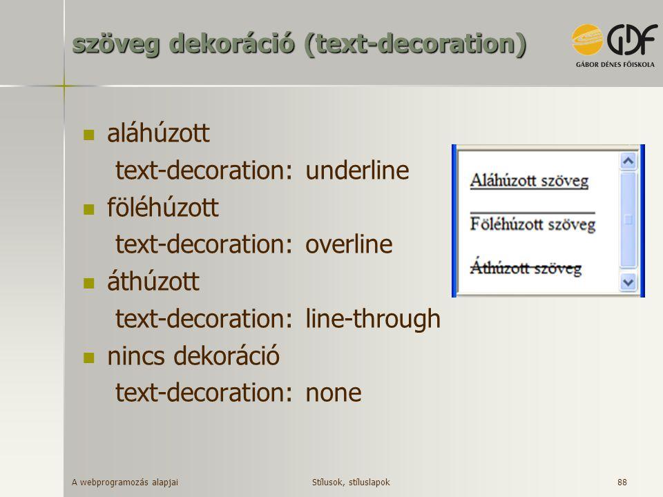 szöveg dekoráció (text-decoration)