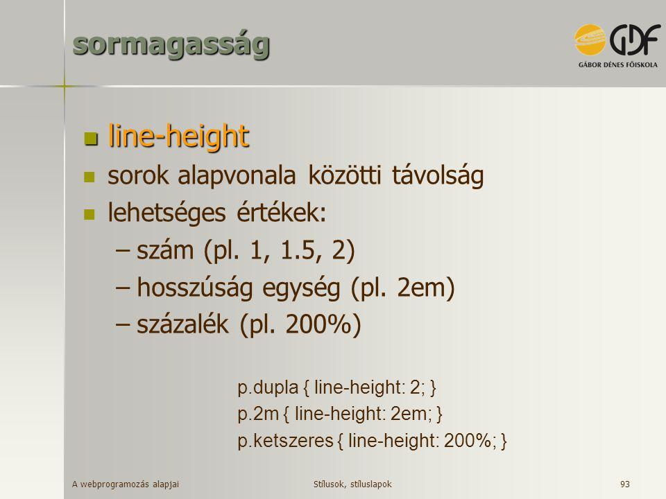 sormagasság line-height sorok alapvonala közötti távolság