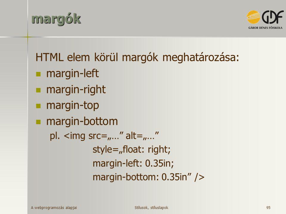 margók HTML elem körül margók meghatározása: margin-left margin-right