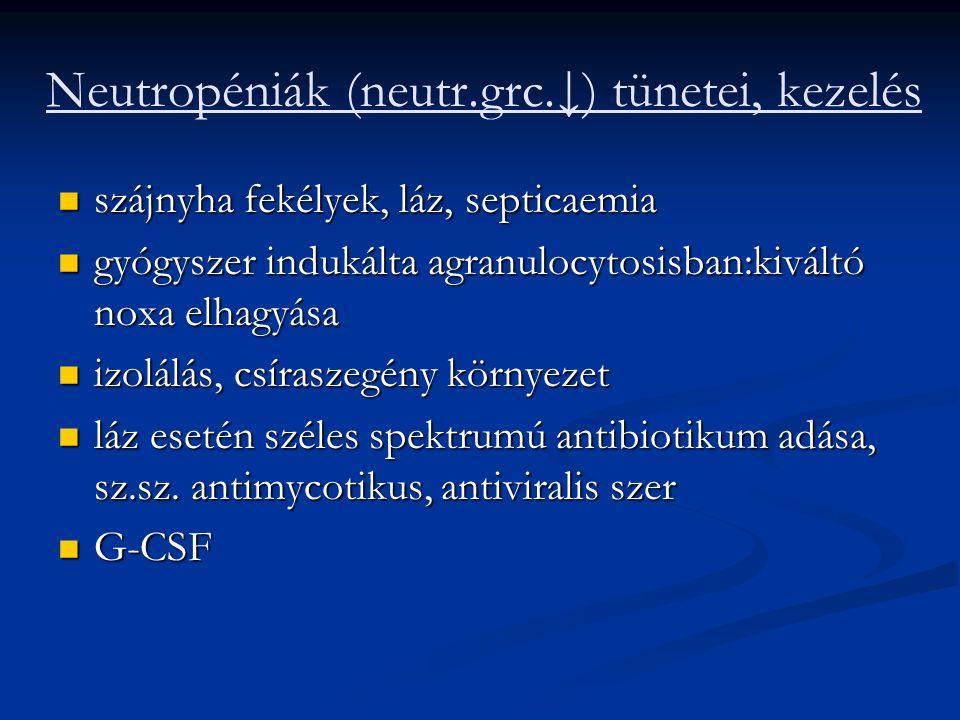 Neutropéniák (neutr.grc.↓) tünetei, kezelés