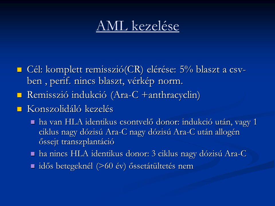 AML kezelése Cél: komplett remisszió(CR) elérése: 5% blaszt a csv-ben , perif. nincs blaszt, vérkép norm.