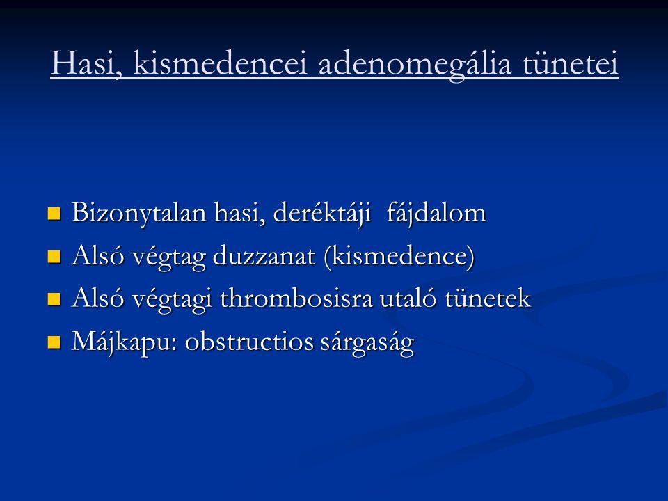 Hasi, kismedencei adenomegália tünetei