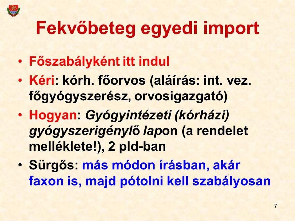 Fekvőbeteg egyedi import