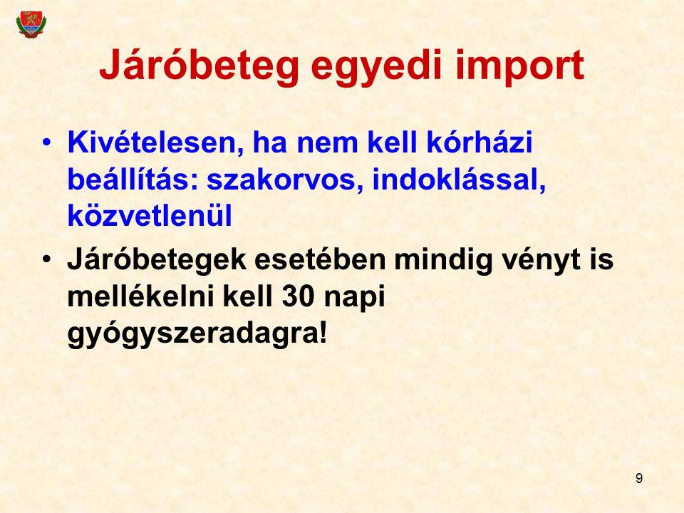 Járóbeteg egyedi import