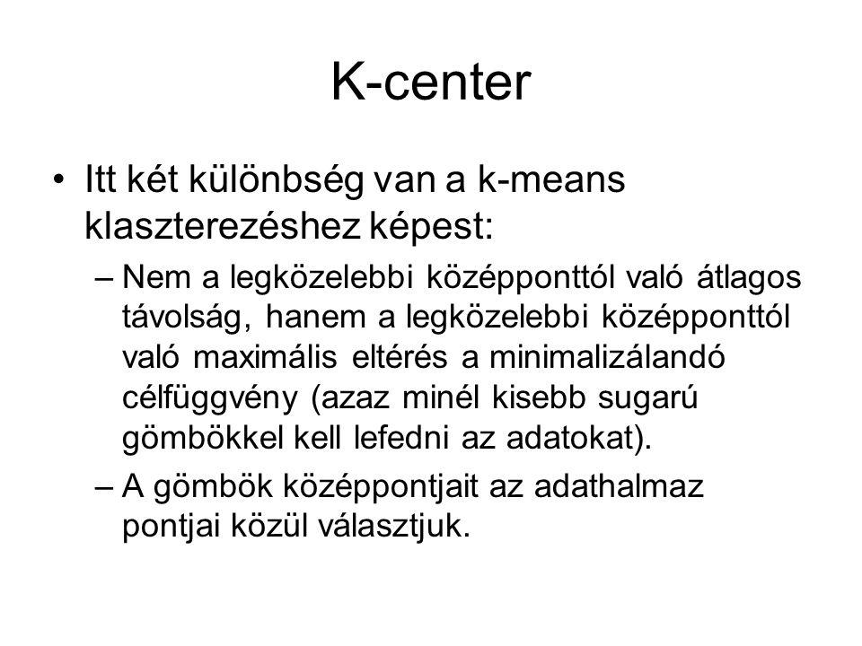 K-center Itt két különbség van a k-means klaszterezéshez képest: