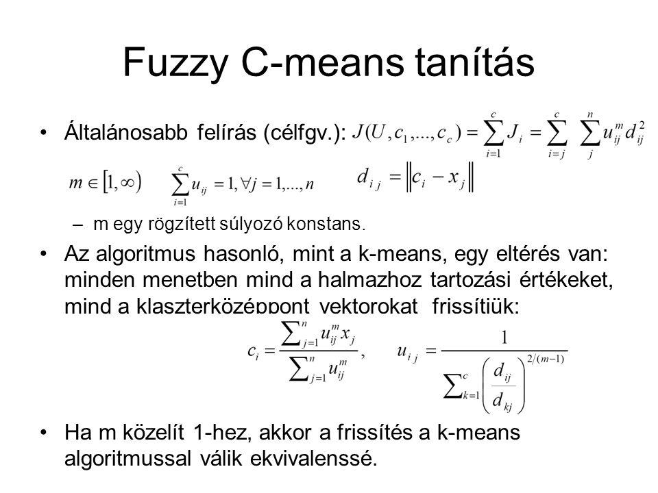 Fuzzy C-means tanítás Általánosabb felírás (célfgv.):
