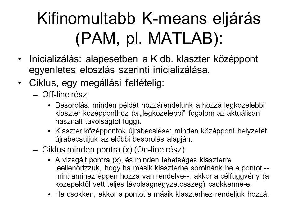 Kifinomultabb K-means eljárás (PAM, pl. MATLAB):