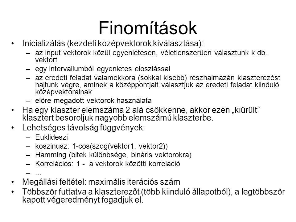 Finomítások Inicializálás (kezdeti középvektorok kiválasztása):