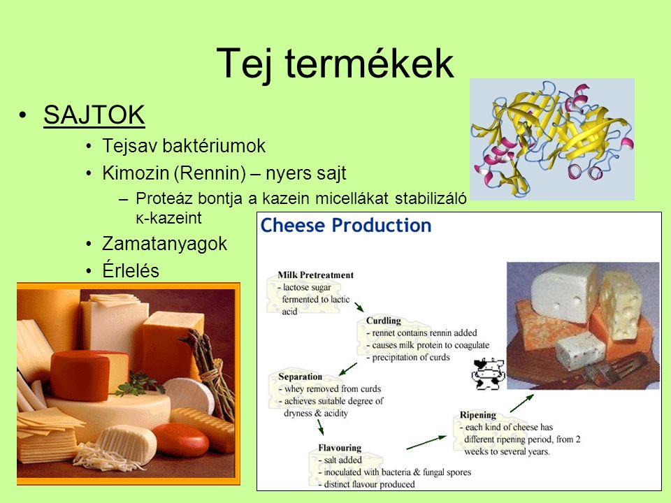 Tej termékek SAJTOK Tejsav baktériumok Kimozin (Rennin) – nyers sajt