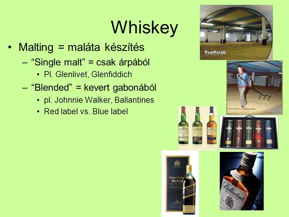 Whiskey Malting = maláta készítés Single malt = csak árpából