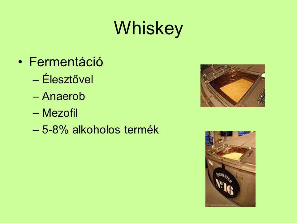 Whiskey Fermentáció Élesztővel Anaerob Mezofil 5-8% alkoholos termék