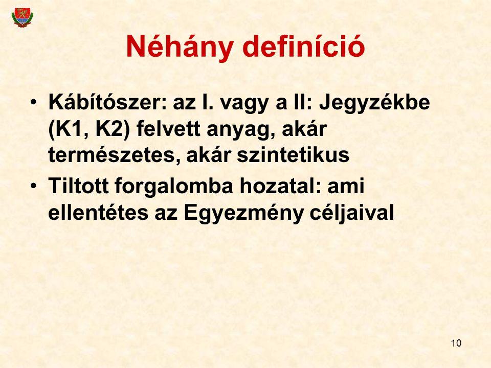 Néhány definíció Kábítószer: az I. vagy a II: Jegyzékbe (K1, K2) felvett anyag, akár természetes, akár szintetikus.