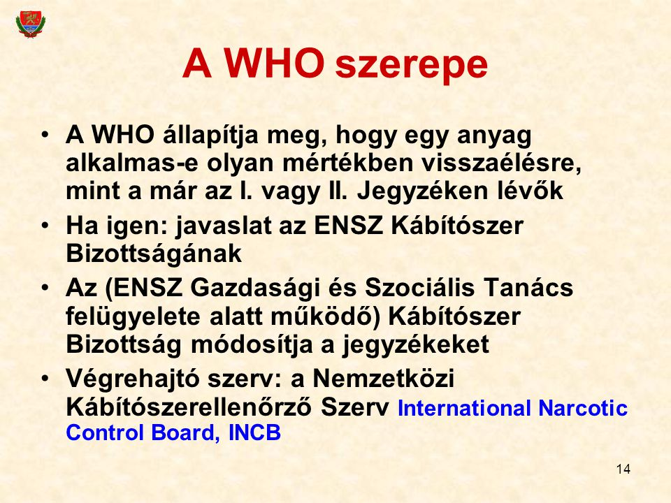 A WHO szerepe A WHO állapítja meg, hogy egy anyag alkalmas-e olyan mértékben visszaélésre, mint a már az I. vagy II. Jegyzéken lévők.