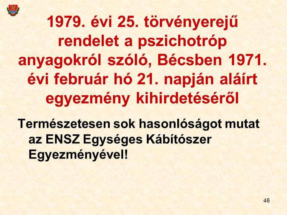 1979. évi 25. törvényerejű rendelet a pszichotróp anyagokról szóló, Bécsben 1971. évi február hó 21. napján aláírt egyezmény kihirdetéséről