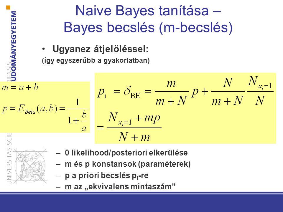Naive Bayes tanítása – Bayes becslés (m-becslés)