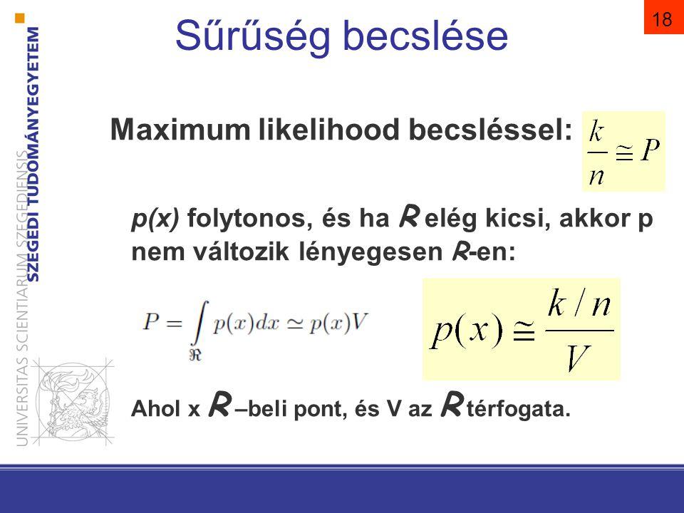 Sűrűség becslése Maximum likelihood becsléssel: