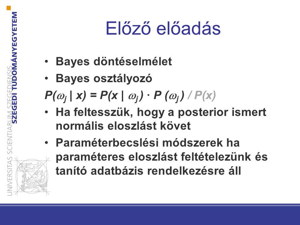 Előző előadás Bayes döntéselmélet Bayes osztályozó