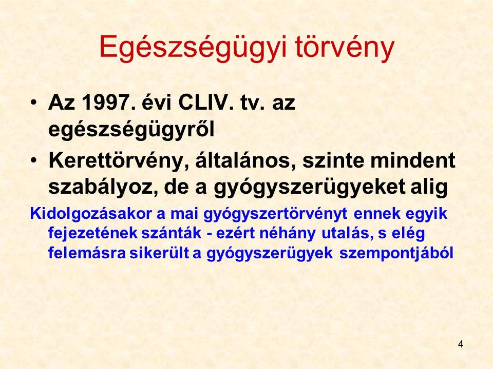 Egészségügyi törvény Az 1997. évi CLIV. tv. az egészségügyről