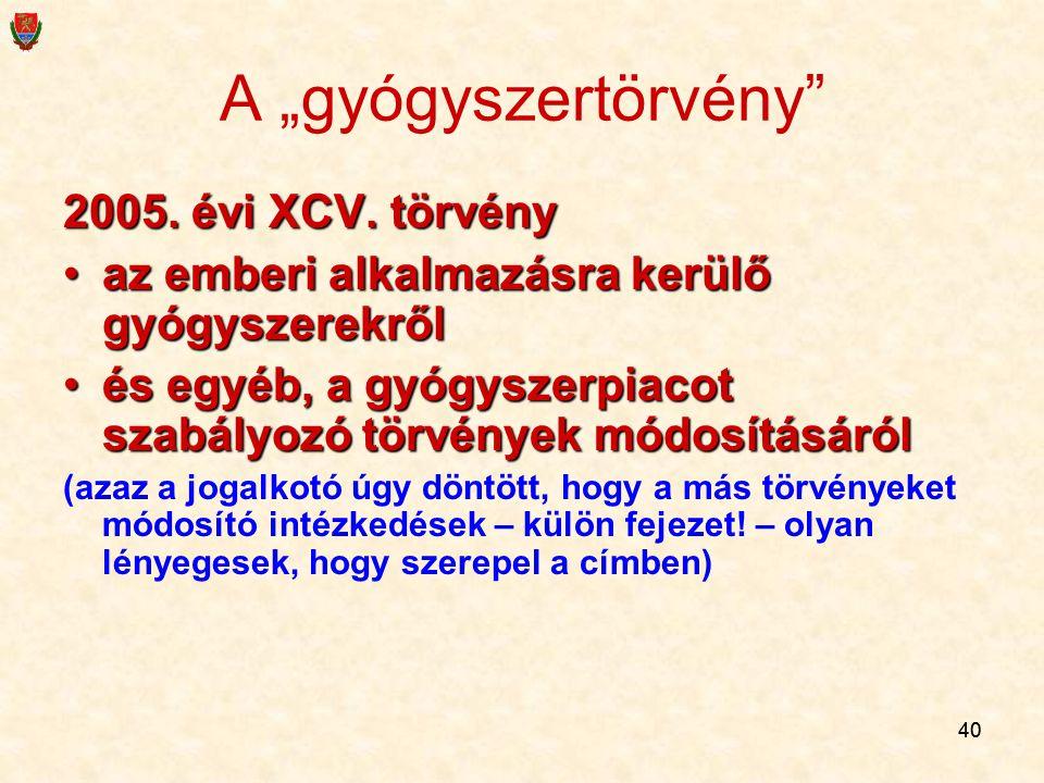 """A """"gyógyszertörvény 2005. évi XCV. törvény"""
