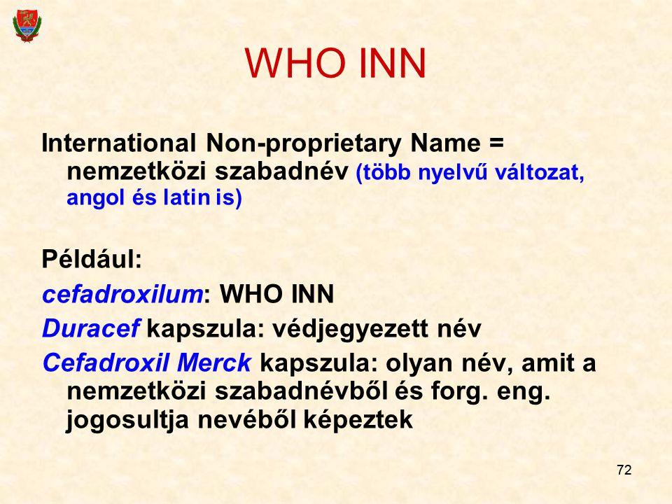 WHO INN International Non-proprietary Name = nemzetközi szabadnév (több nyelvű változat, angol és latin is)