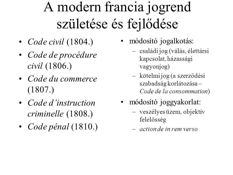 A modern francia jogrend születése és fejlődése