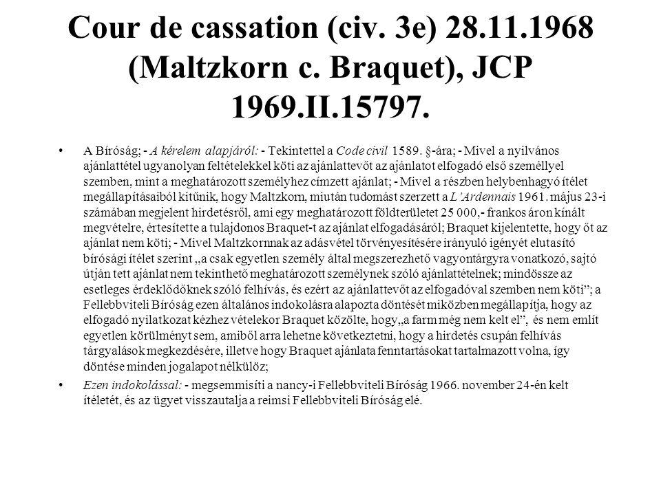 Cour de cassation (civ. 3e) 28. 11. 1968 (Maltzkorn c