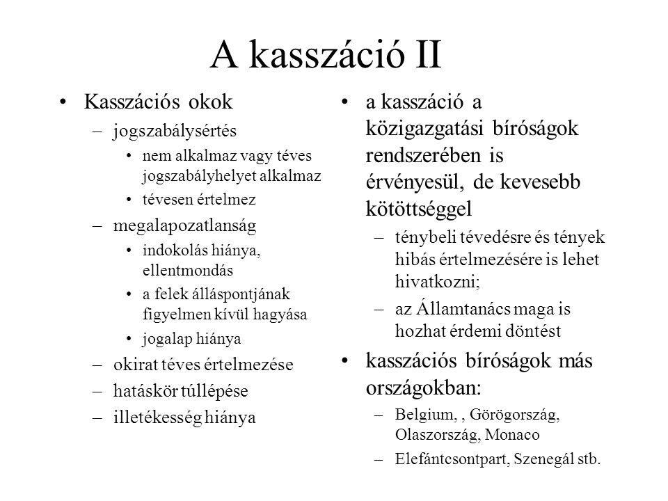 A kasszáció II Kasszációs okok