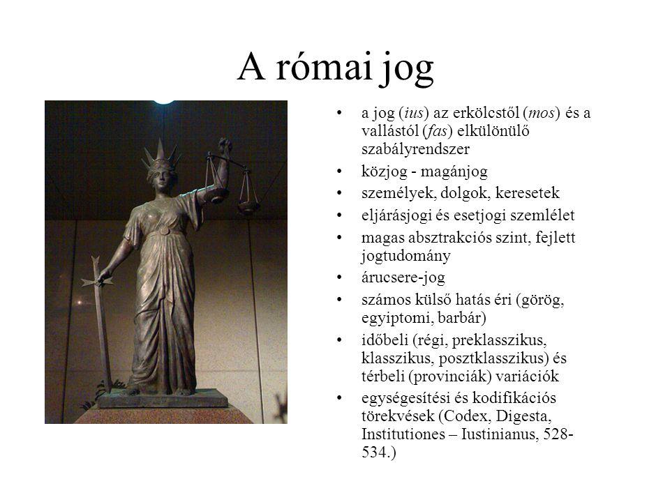 A római jog a jog (ius) az erkölcstől (mos) és a vallástól (fas) elkülönülő szabályrendszer. közjog - magánjog.