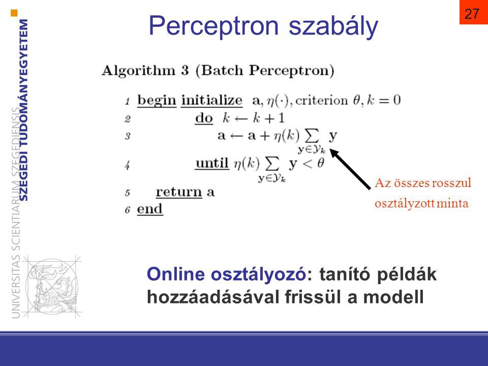 Perceptron szabály η(k)=1