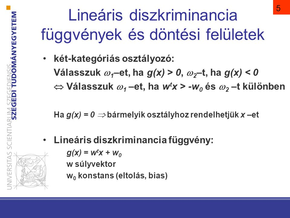 Ha g(x) lineáris függvény, akkor a döntési felület egy hipersík
