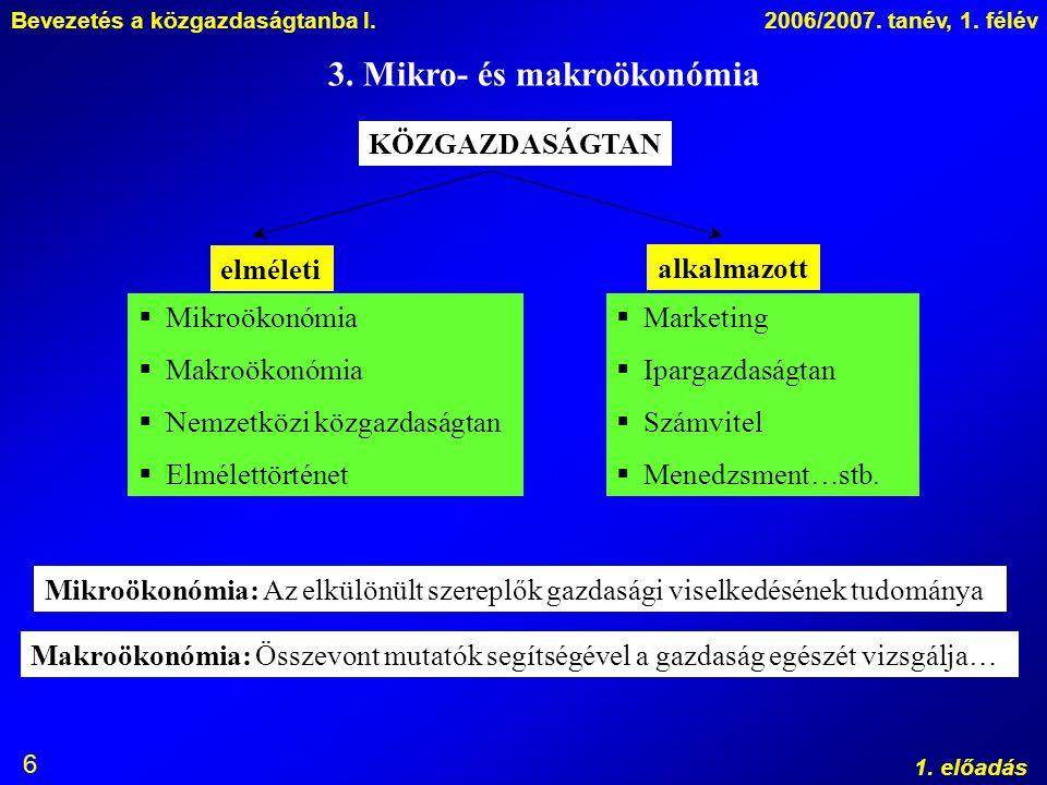 3. Mikro- és makroökonómia