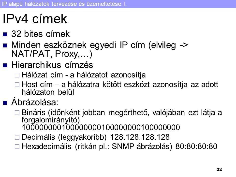 IPv4 címek 32 bites címek. Minden eszköznek egyedi IP cím (elvileg -> NAT/PAT, Proxy,…) Hierarchikus címzés.