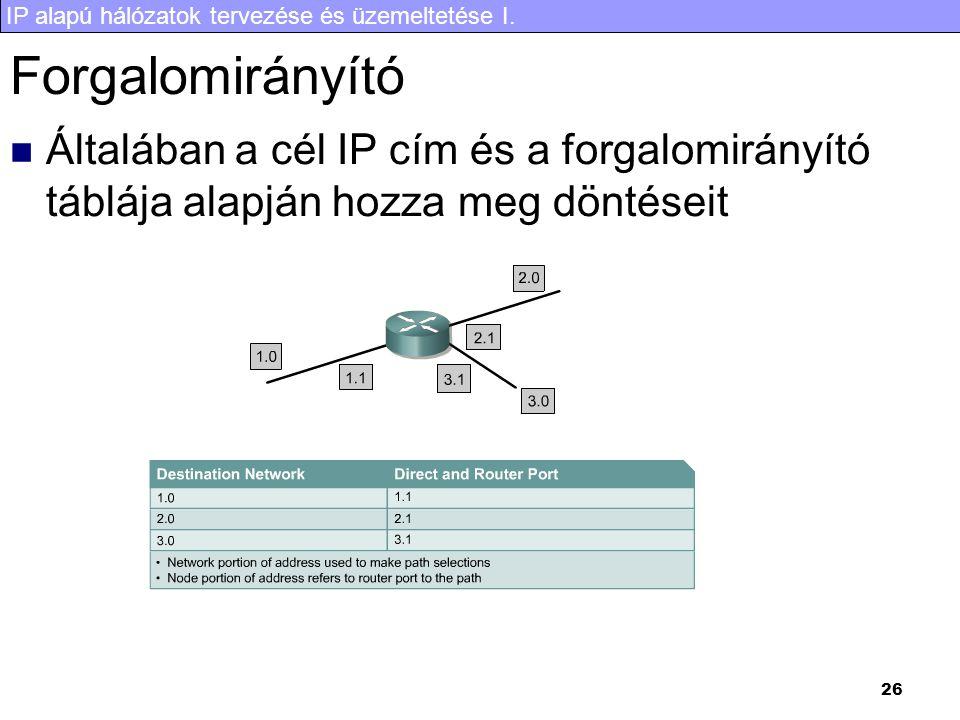 Forgalomirányító Általában a cél IP cím és a forgalomirányító táblája alapján hozza meg döntéseit