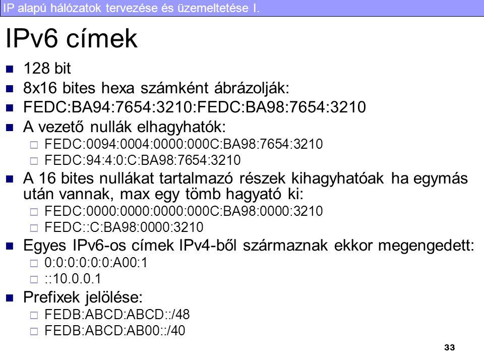 IPv6 címek 128 bit 8x16 bites hexa számként ábrázolják: