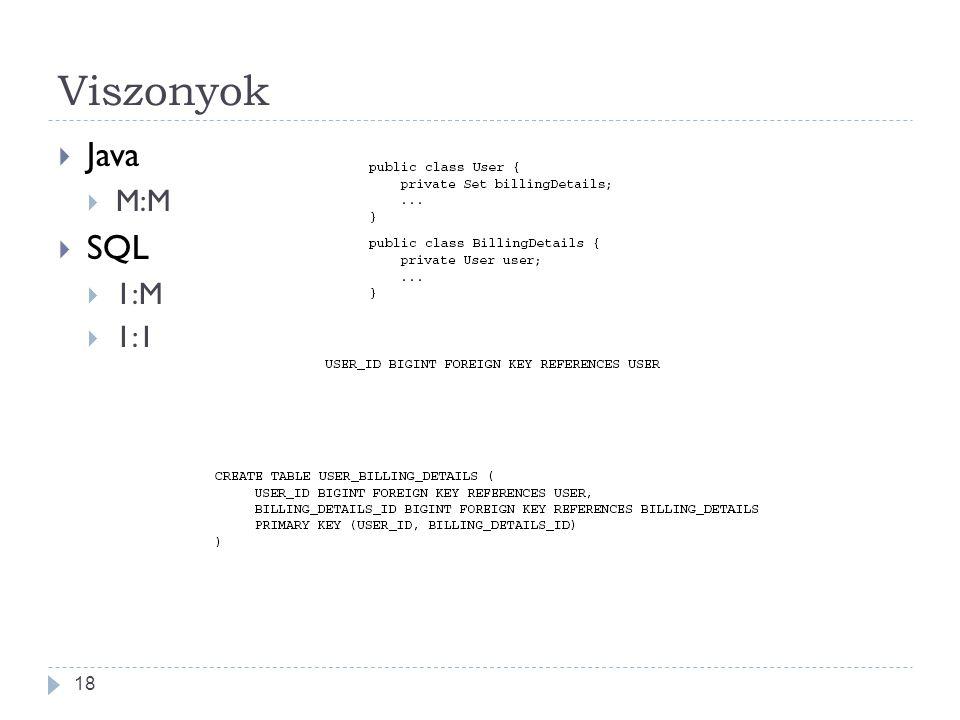 Viszonyok Java M:M SQL 1:M 1:1