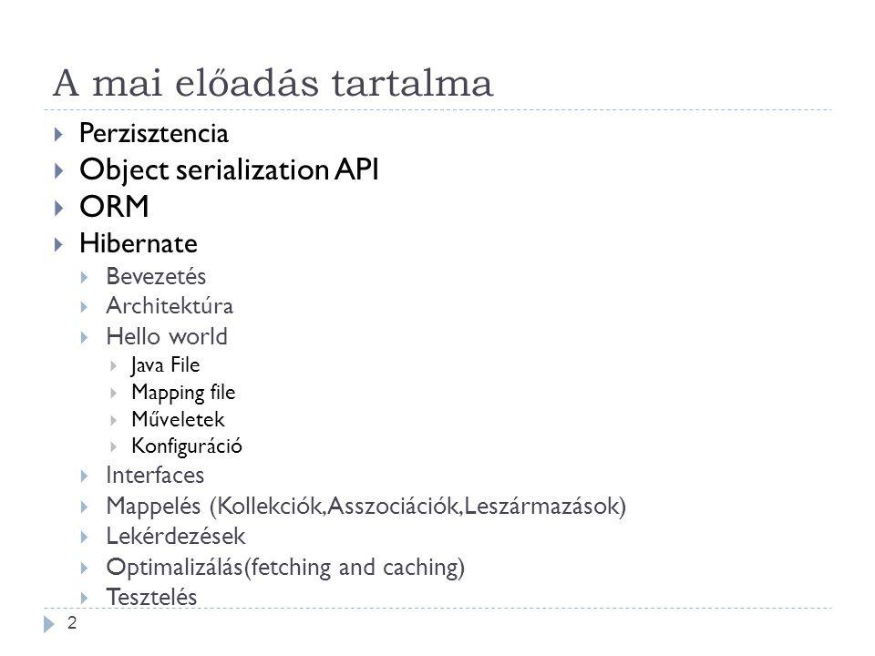 A mai előadás tartalma Object serialization API ORM Perzisztencia