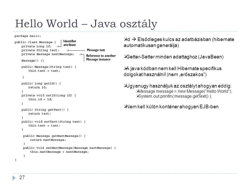 Hello World – Java osztály