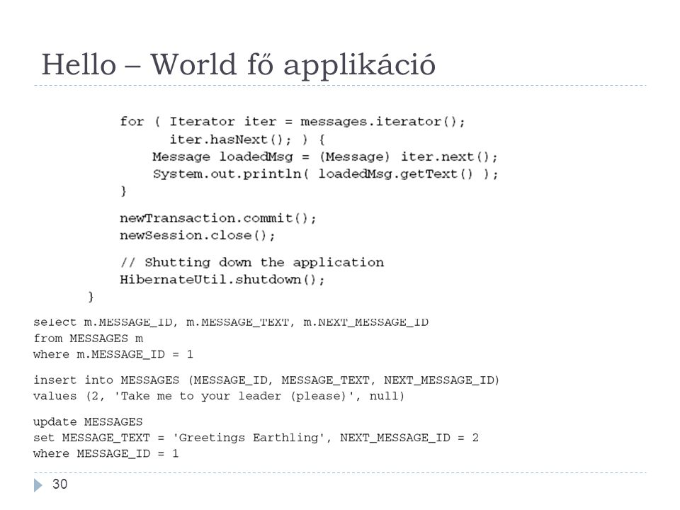 Hello – World fő applikáció