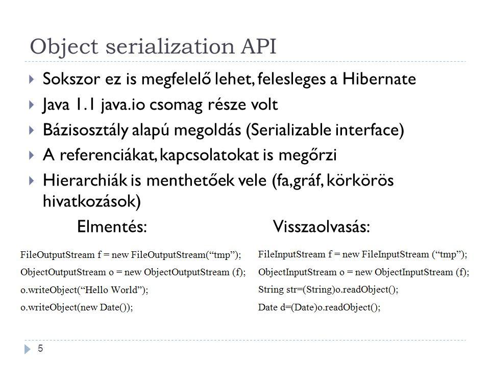 Object serialization API