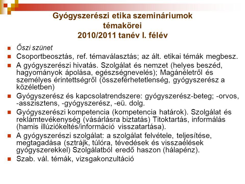 Gyógyszerészi etika szemináriumok témakörei 2010/2011 tanév I. félév