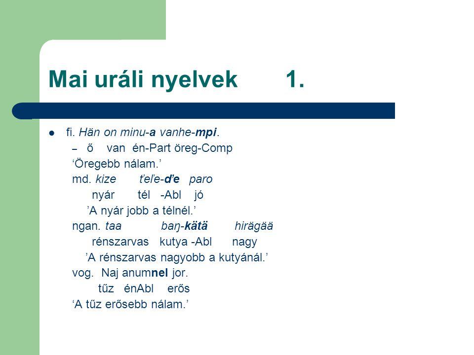 Mai uráli nyelvek 1. fi. Hän on minu-a vanhe-mpi.