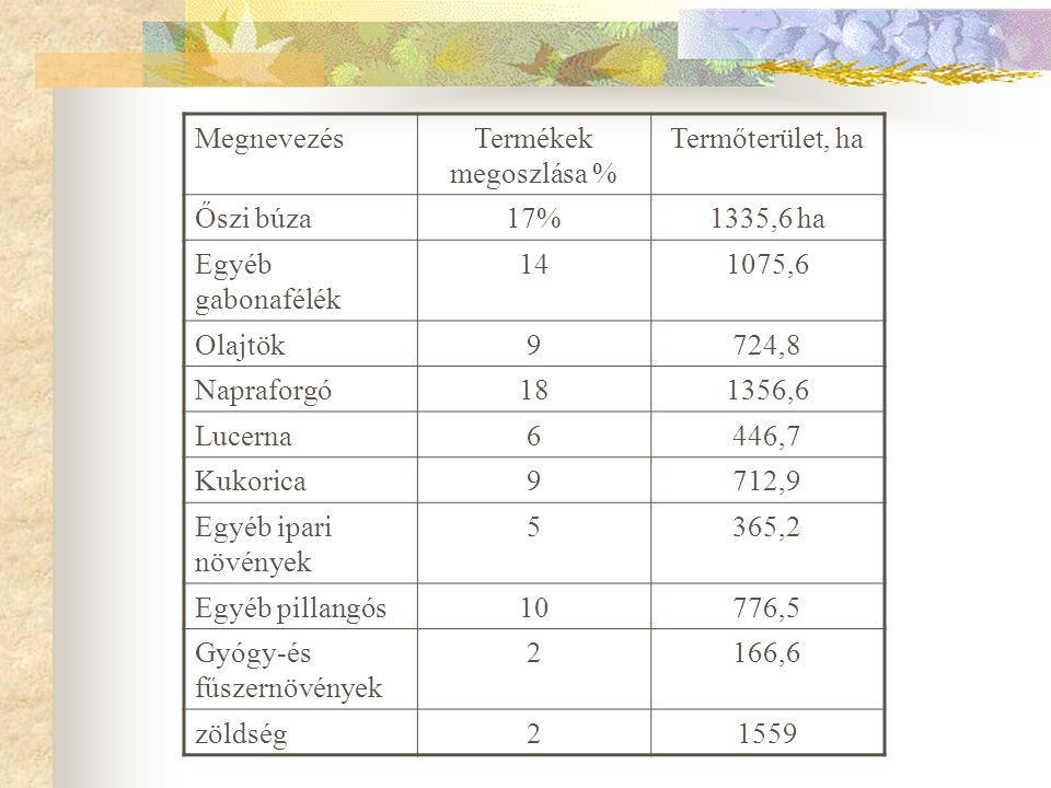 Megnevezés Termékek megoszlása % Termőterület, ha. Őszi búza. 17% 1335,6 ha. Egyéb gabonafélék.